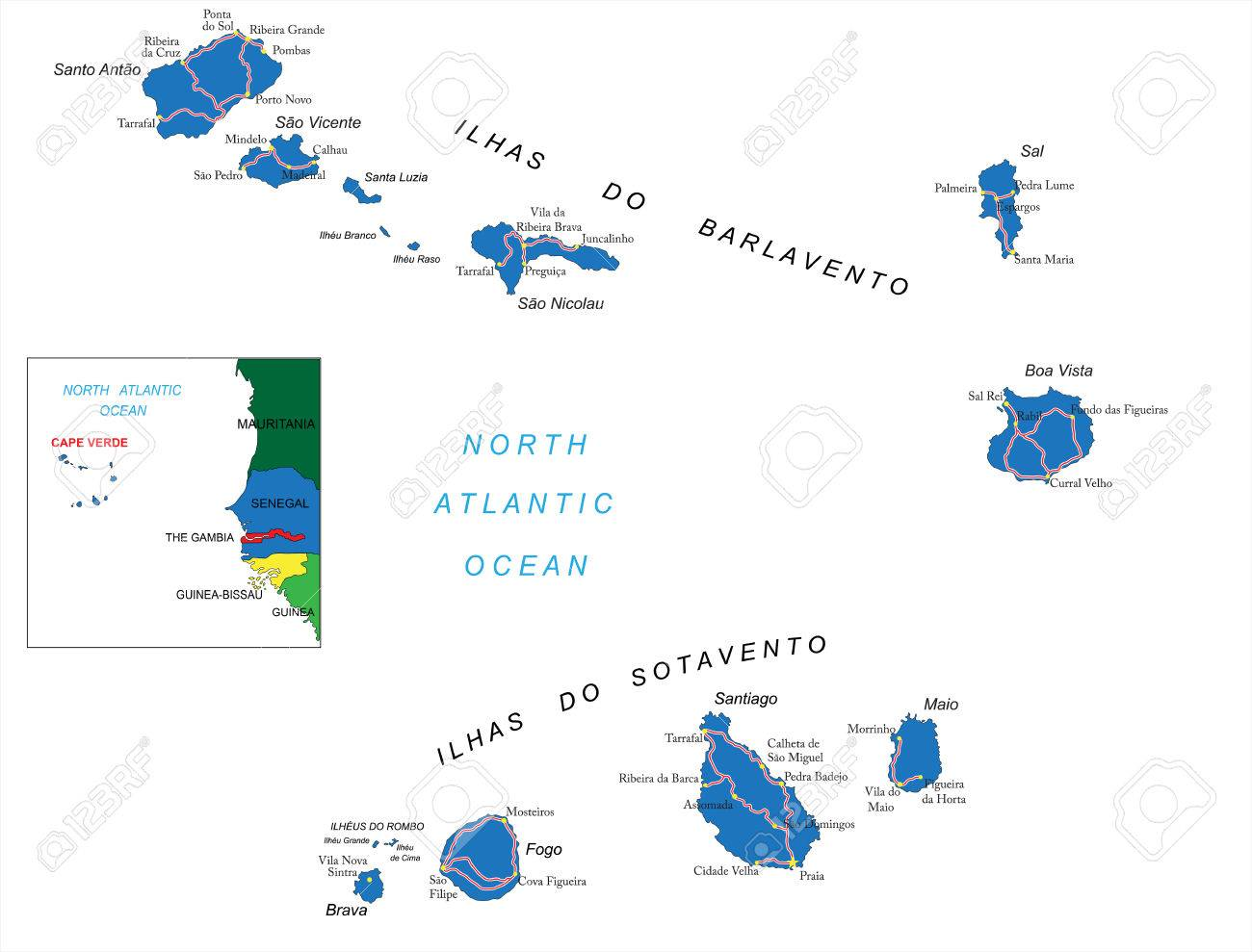 Cape Verde Islands Map Royalty Free Cliparts, Vectors, And Stock ...
