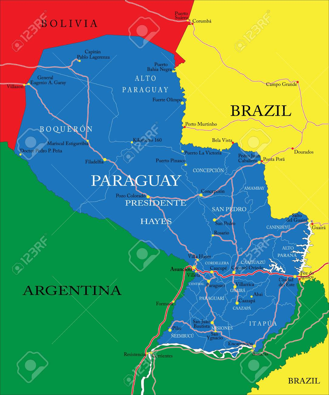Highly Detailed Vector Map Of Paraguay With Administrative Regions