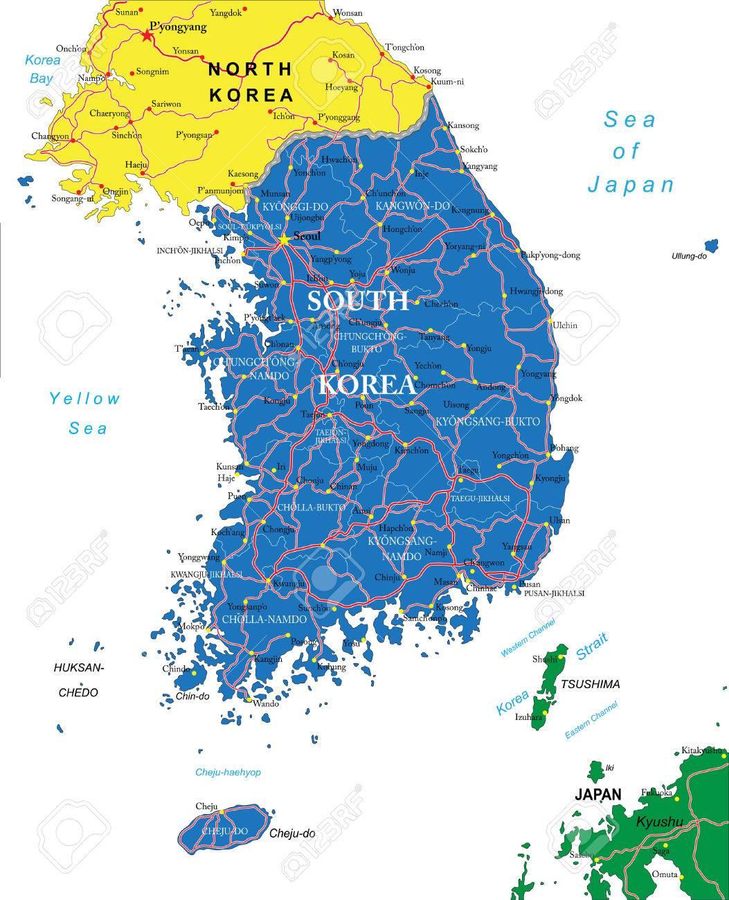 South Korea Map Royalty Free Cliparts Vectors And Stock