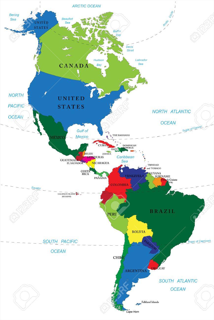 Mapa De America Latina Norte Y Sudamerica Mapa