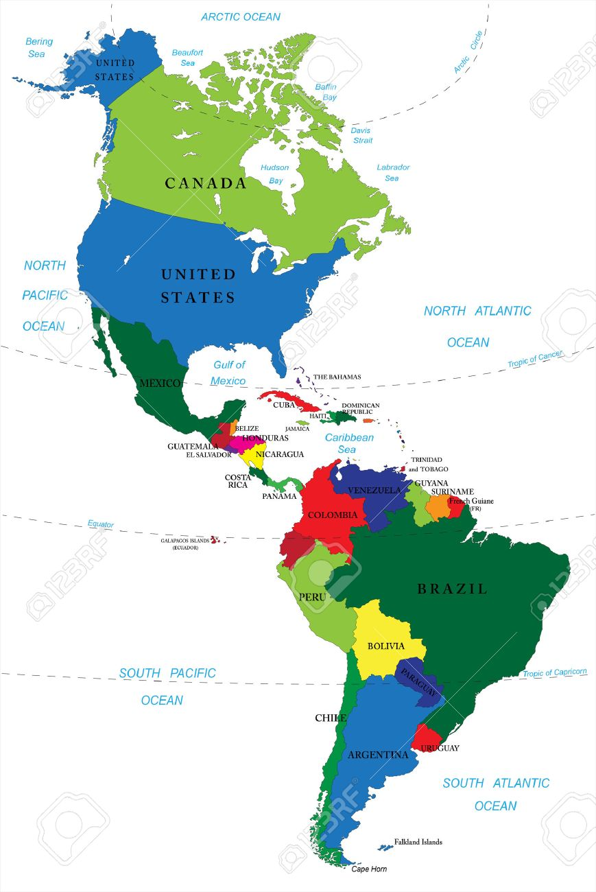 North And South America Map Royalty Free Cliparts, Vectors, And