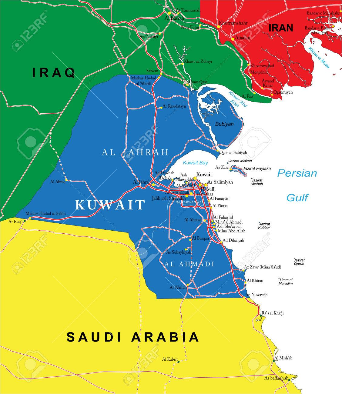 Kuwait Map Royalty Free Cliparts Vectors And Stock Illustration - Kuwait map