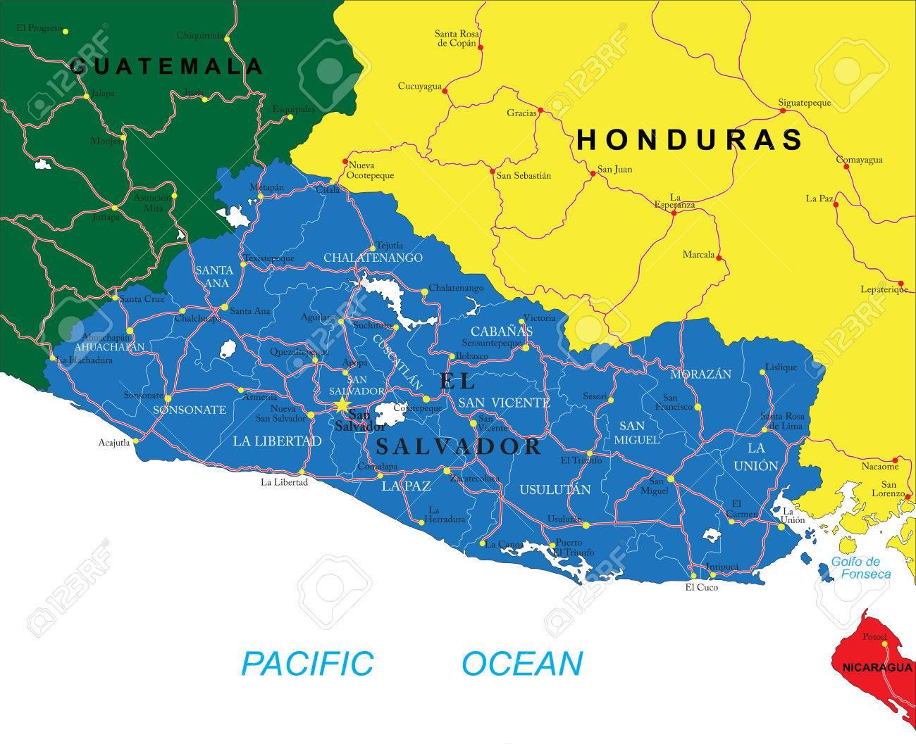 El Salvador Map Royalty Free Cliparts Vectors And Stock