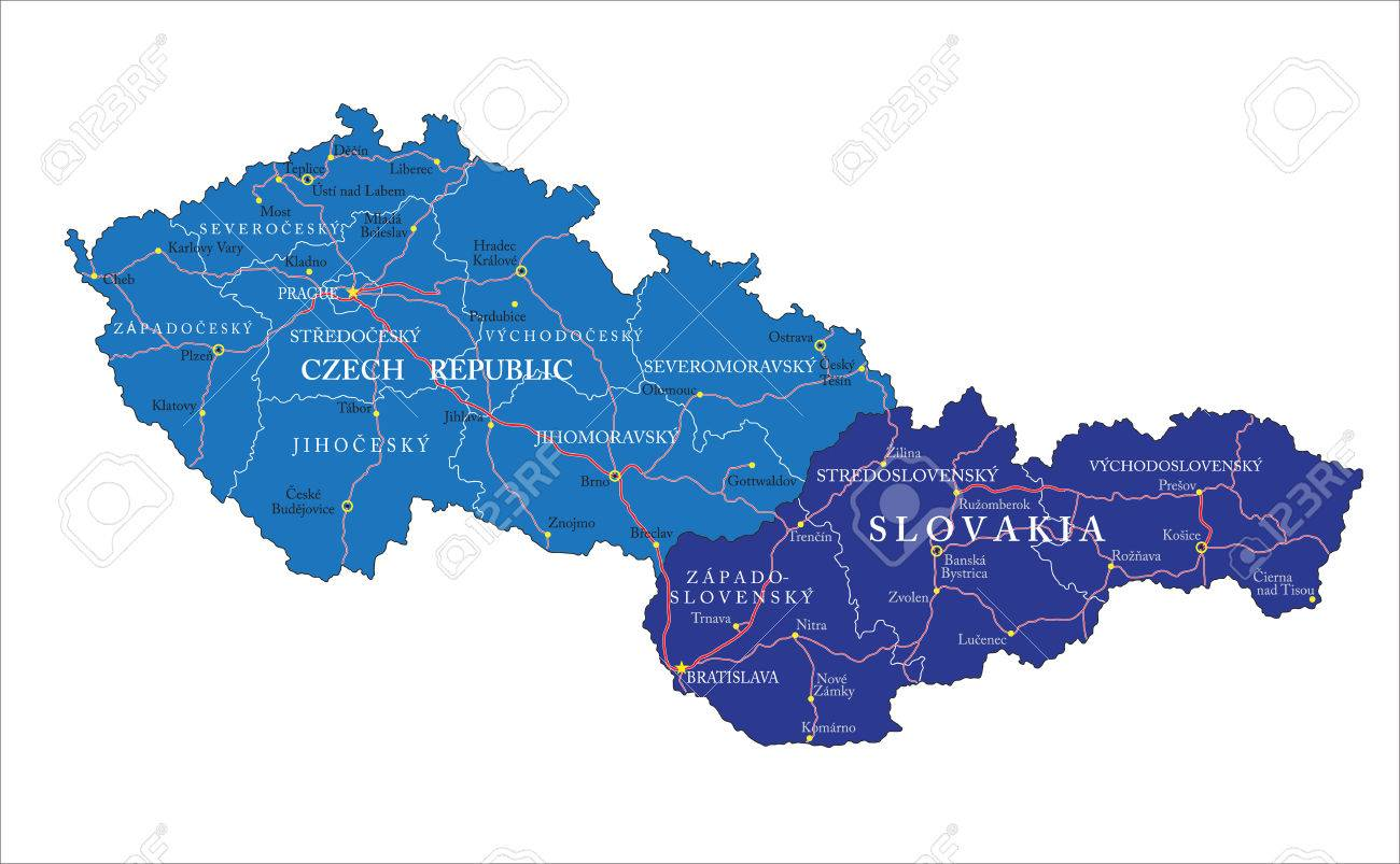 Czech Republic And Slovakia Map Royalty Free Cliparts, Vectors