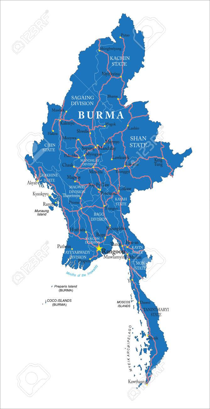 Birmanie Carte Regions.Highly Detailed Vector Map Of Burma With Administrative Regions