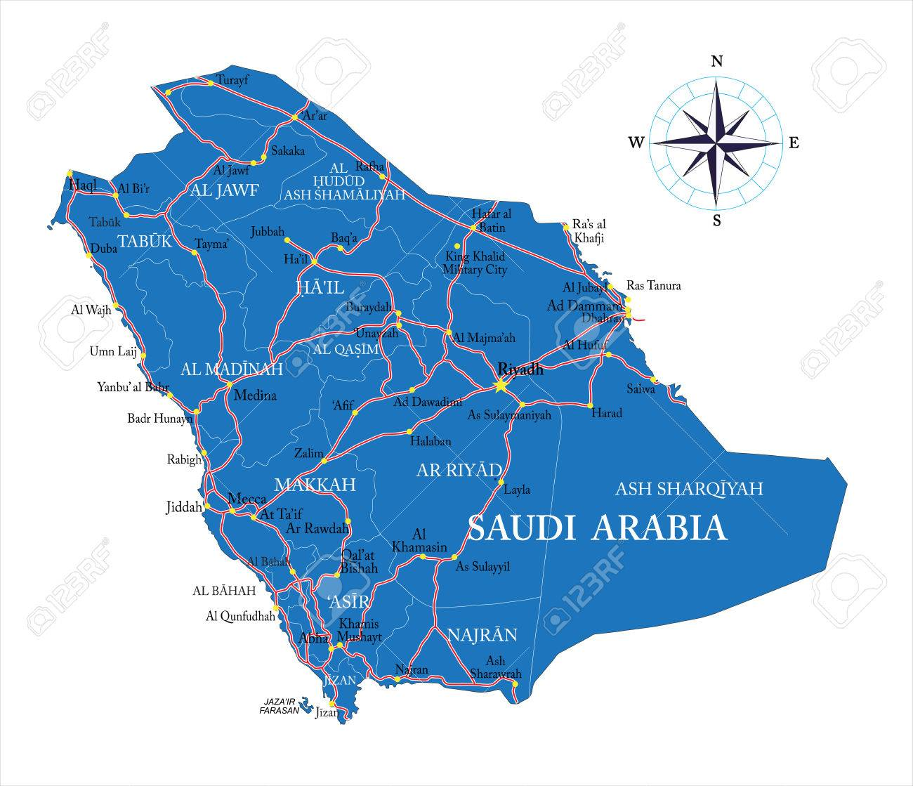 Saudi Arabia Map Royalty Free Cliparts, Vectors, And Stock ... on