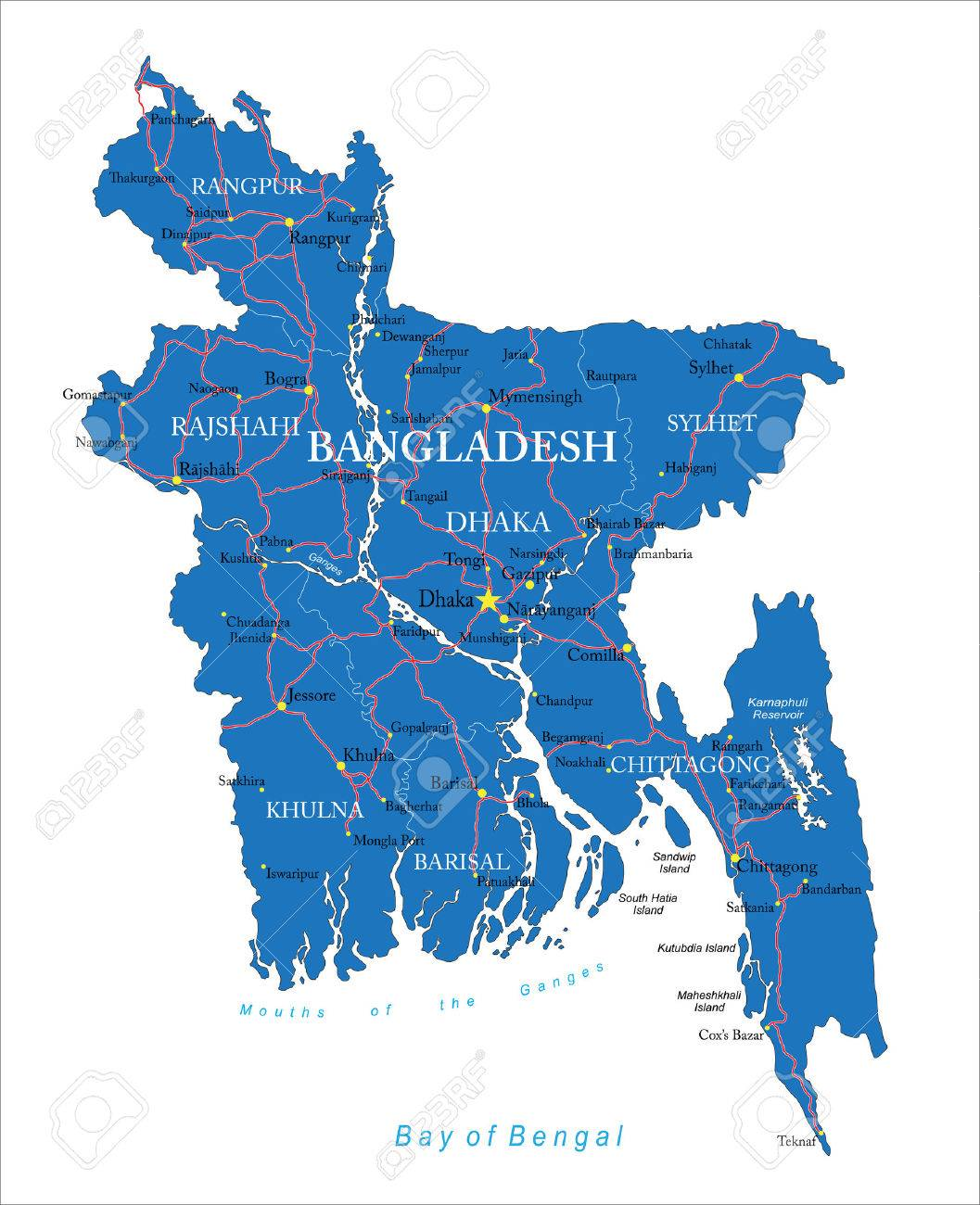 Highly Detailed Map Of Bangladesh With Administrative Regions Main