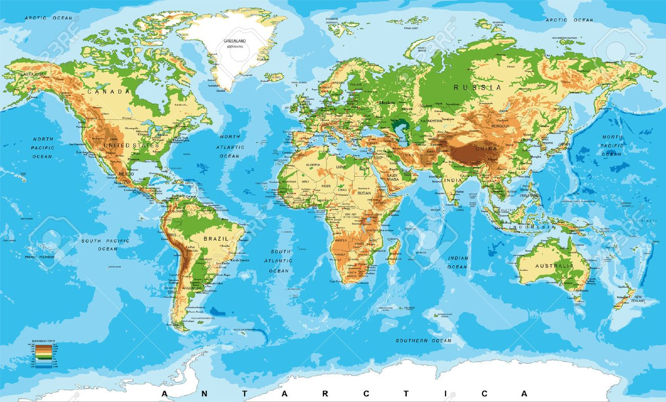 Physical Map Of The World Royalty Free Cliparts Vectors And