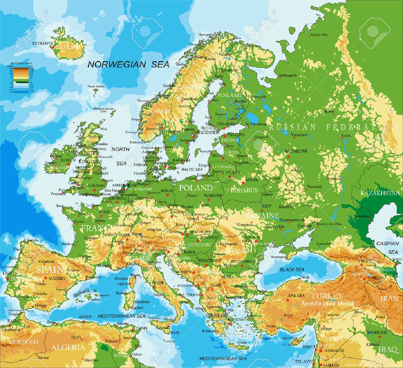 Europe - physical map - 52871807