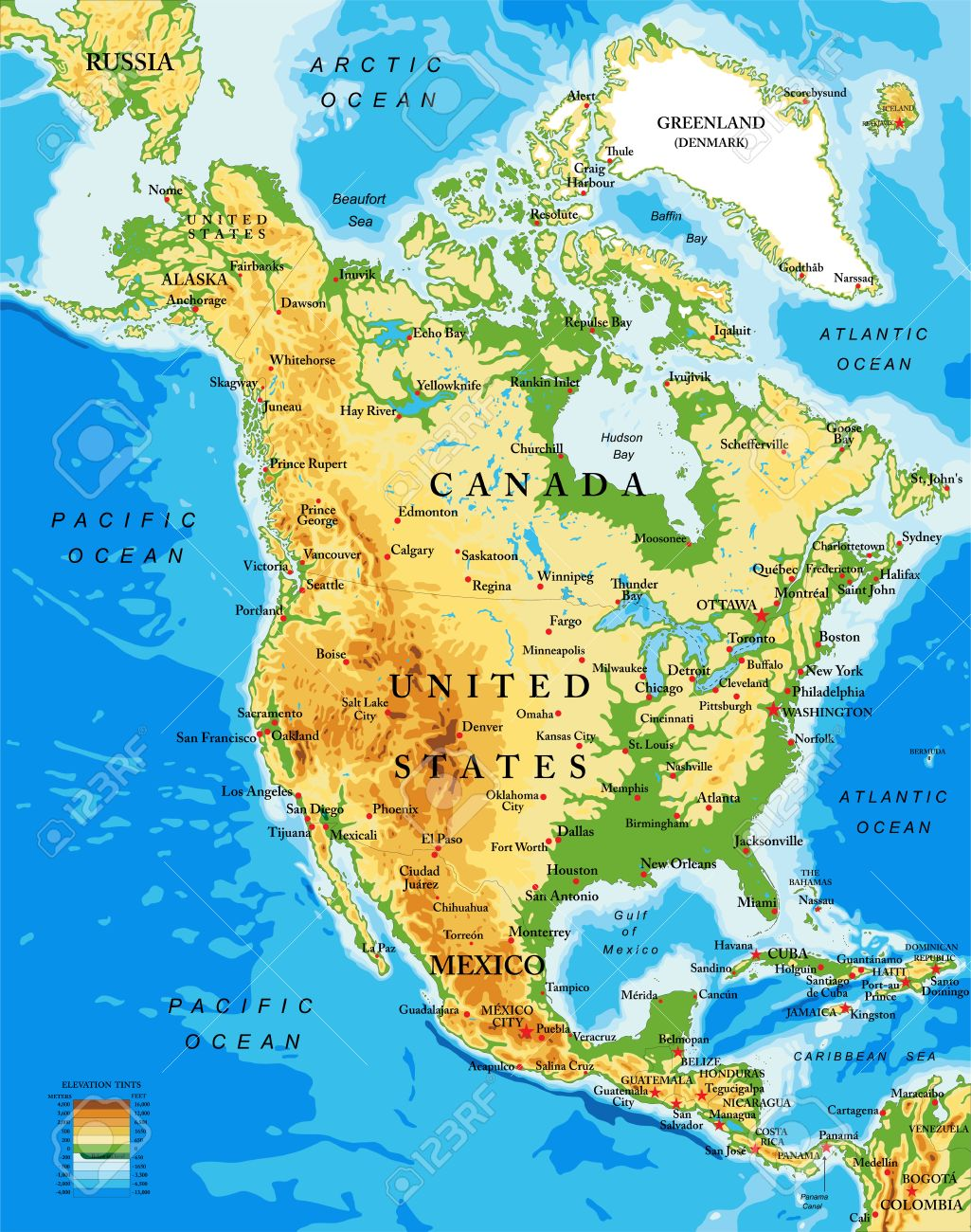 Physical Map Of North America Royalty Free Cliparts Vectors And