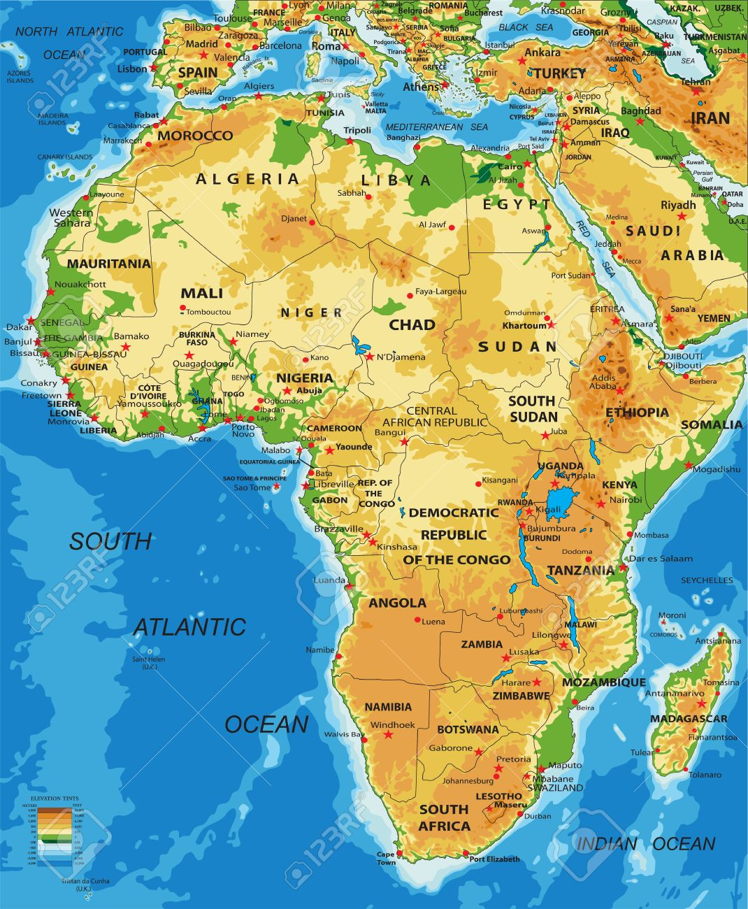 Picture of: Africa Physical Map Royalty Free Cliparts Vectors And Stock Illustration Image 57656141