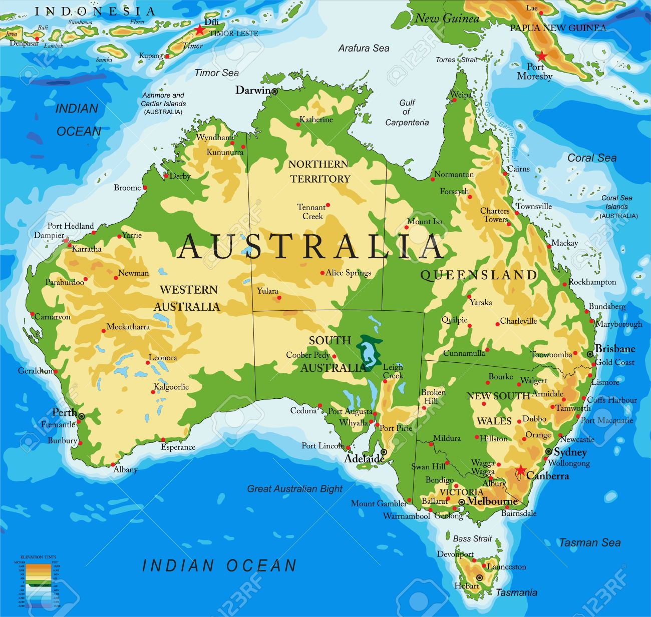 australia physical map stock vector 64788251