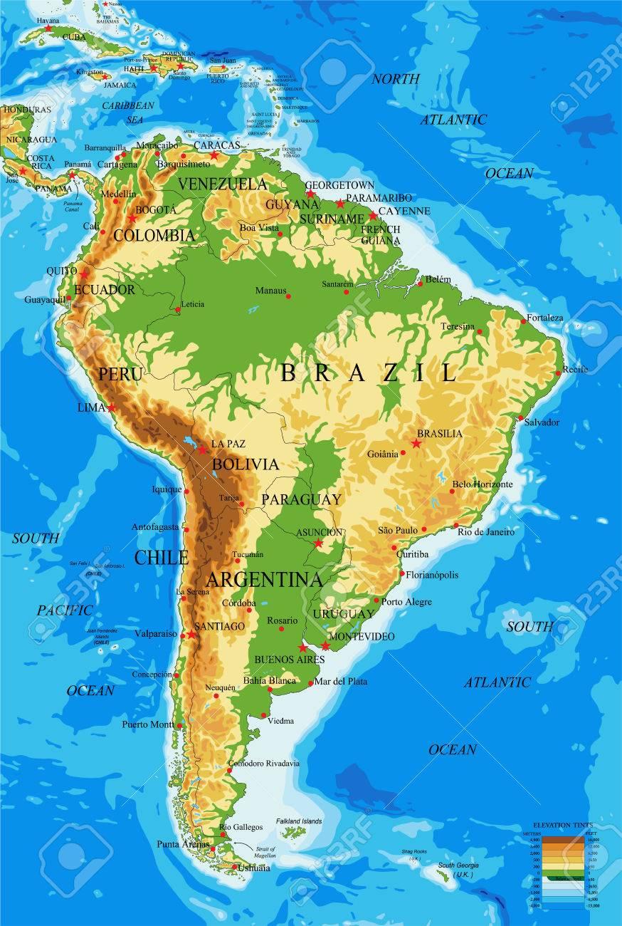 Carte Amerique Physique.Carte Amerique Du Sud Physique