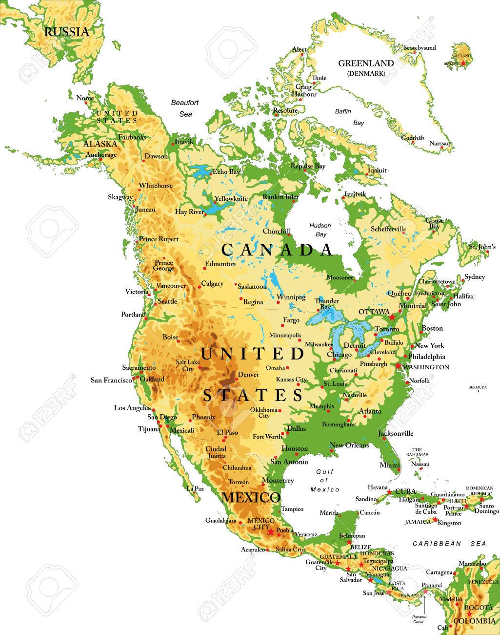North America-physical Map Royalty Free Cliparts, Vectors, And Stock ...