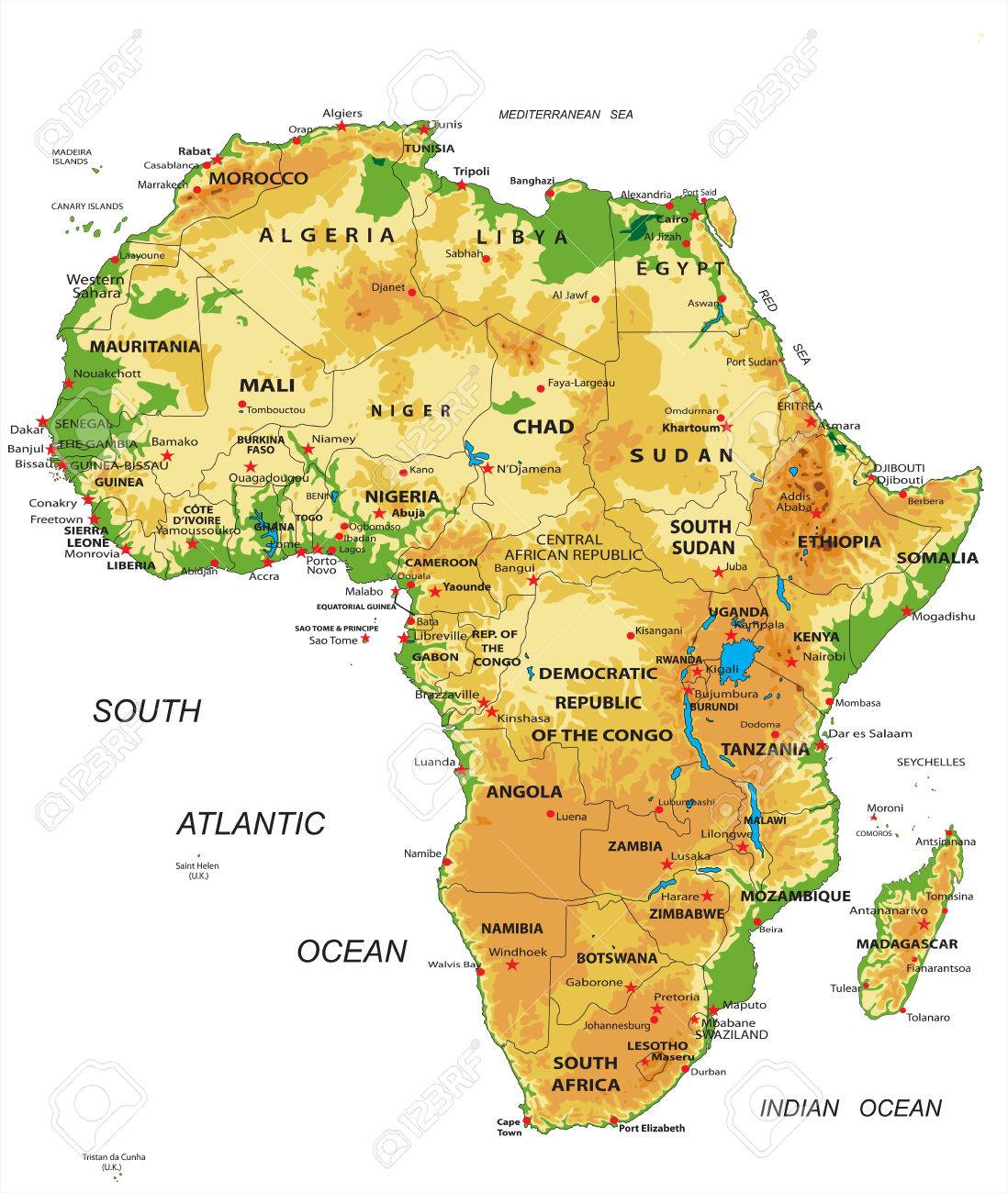 Africaphysical Map Royalty Free Cliparts Vectors And Stock - Africa physical map