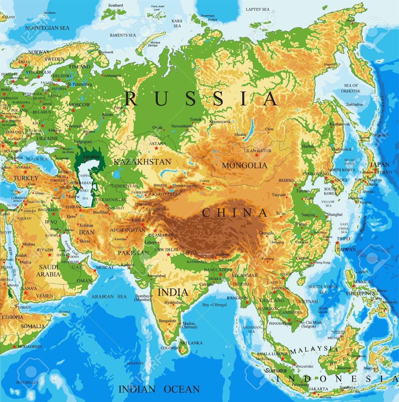 Mapa Fisico De Asia Ilustraciones Vectoriales Clip Art
