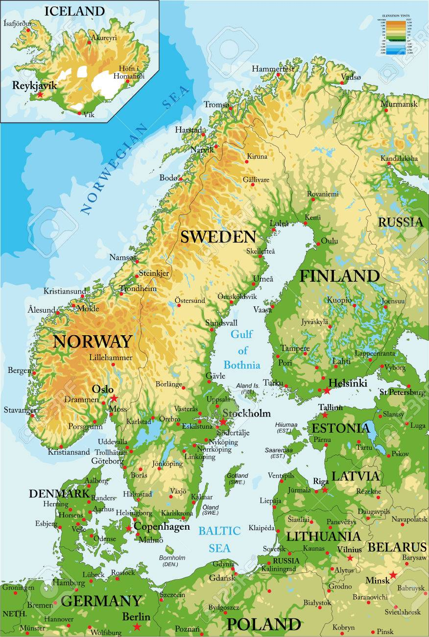 karta skandinavien Scandinavia physical Map Royalty Free Cliparts, Vectors, And Stock  karta skandinavien