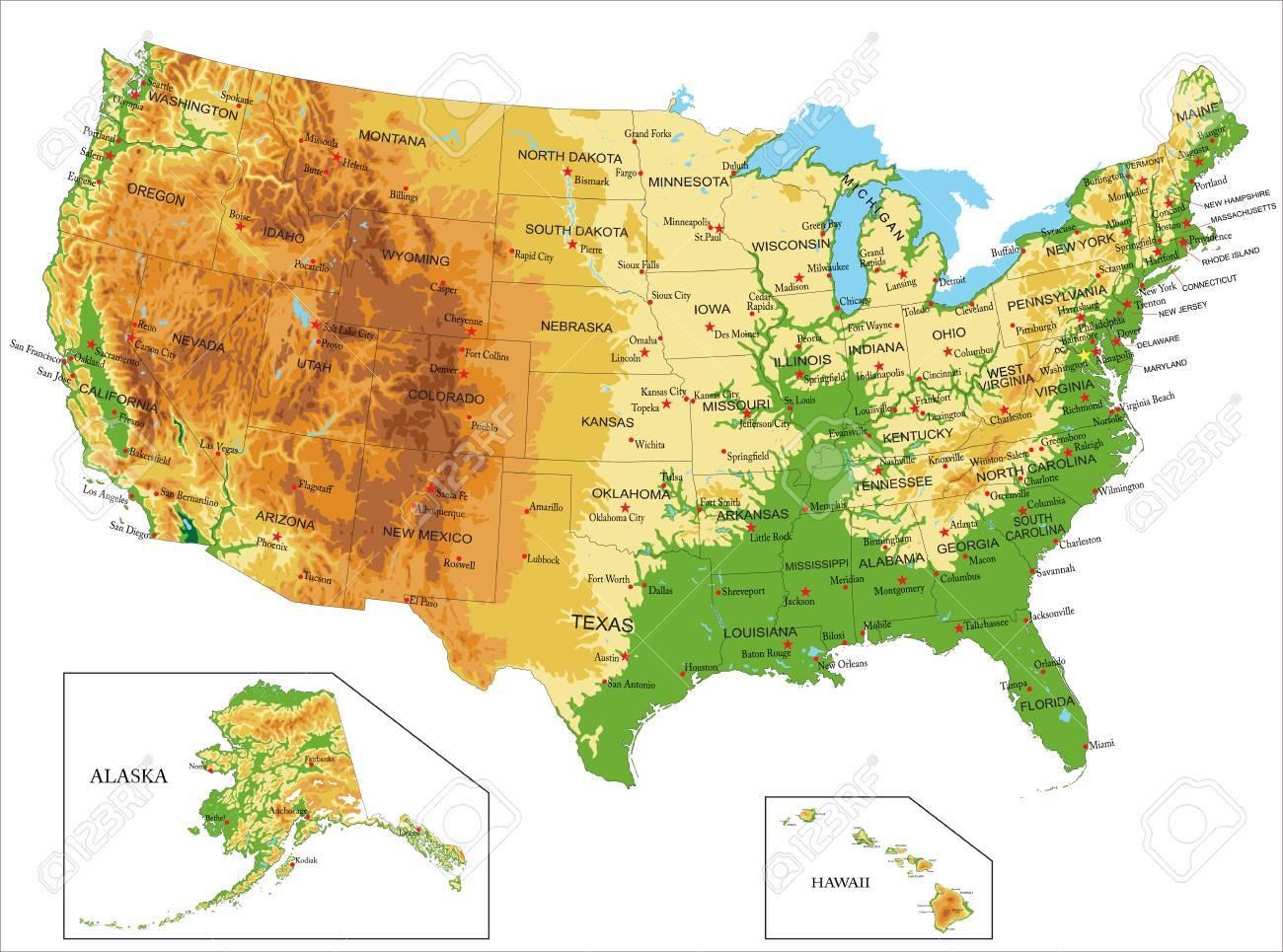 アメリカ合衆国の物理地図 ロイ...