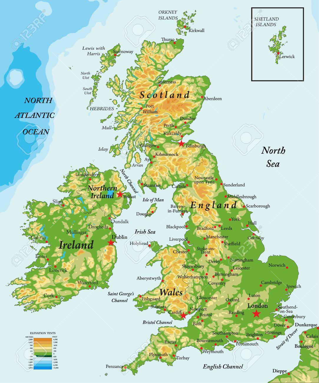 Grossbritannien Und Irland Physikalische Karte Lizenzfrei Nutzbare