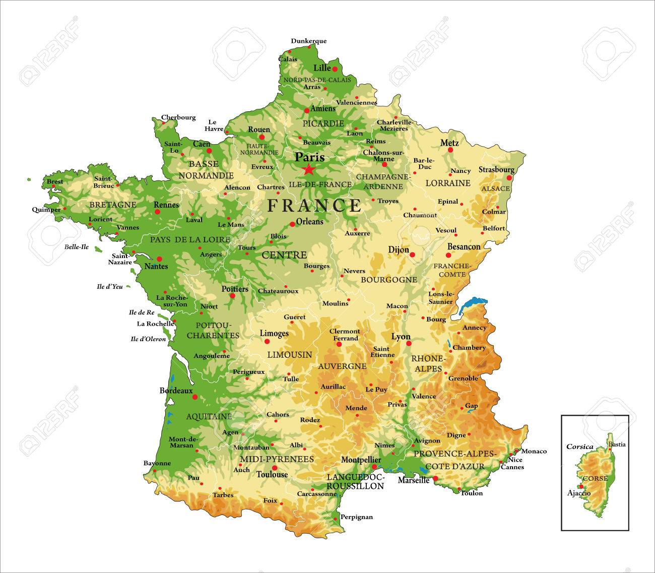 France-physical Map Royalty Free Cliparts, Vectors, And Stock ...
