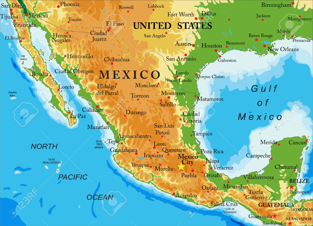 Mexicorelief Map Royalty Free Cliparts Vectors And Stock