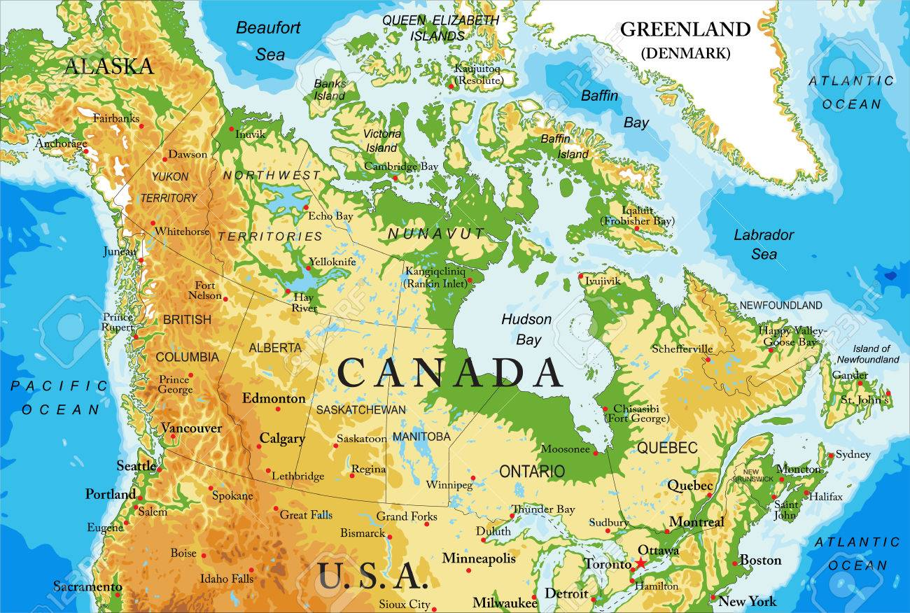 Physical map of Canada - 77821747