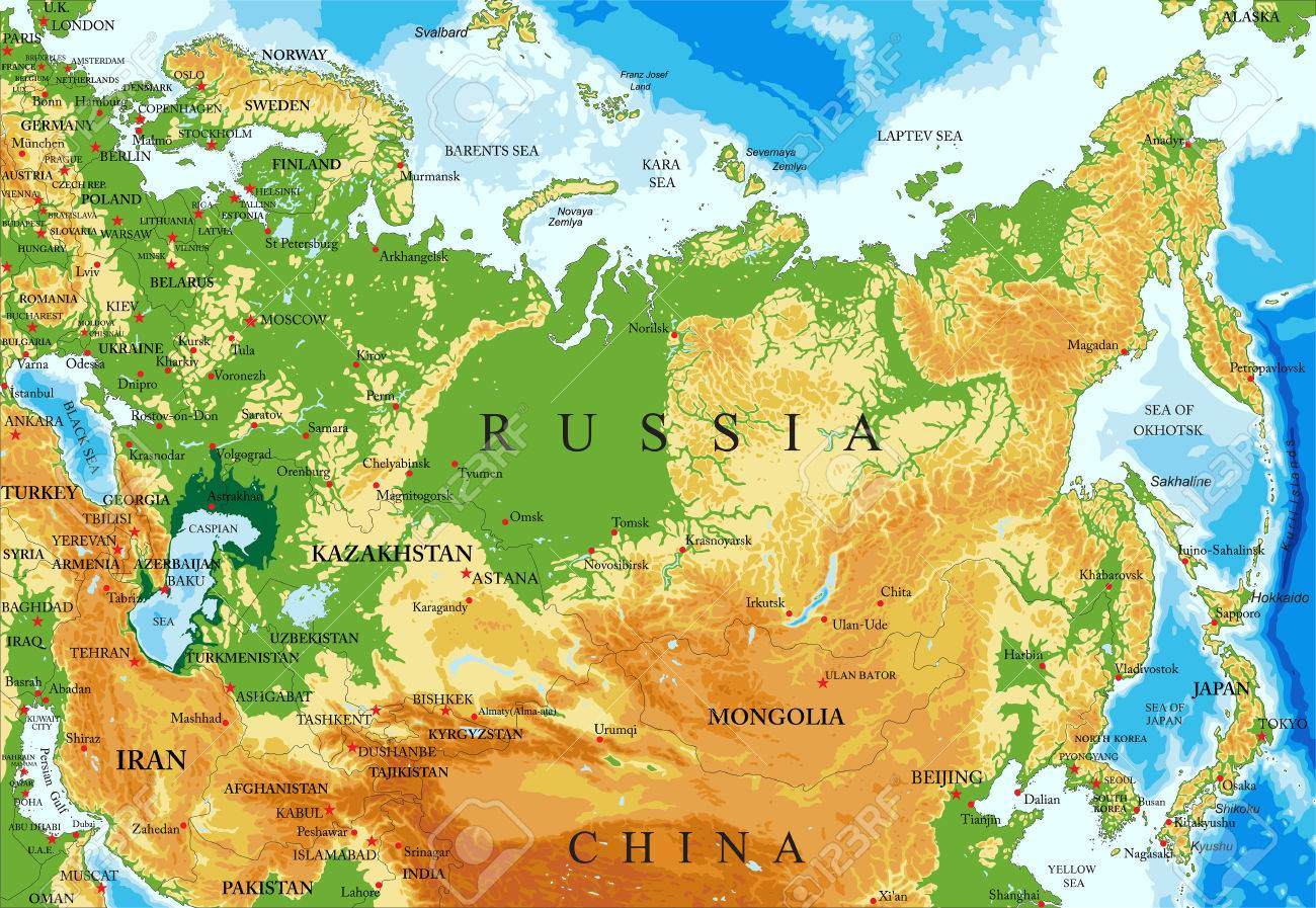 Highly detailed physical map of Russiain vector