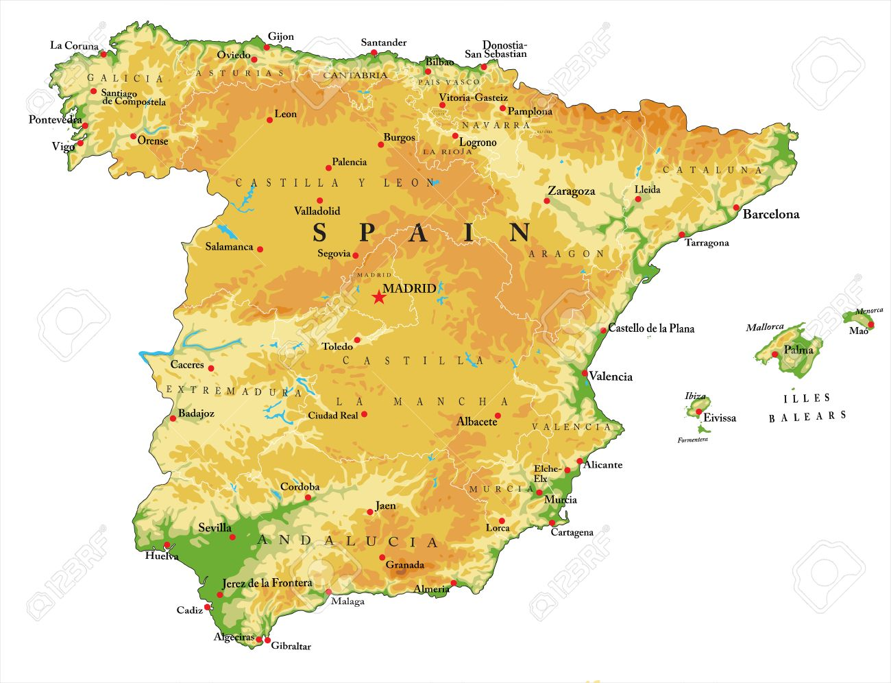 Spain Relief Map Royalty Free Cliparts Vectors And Stock
