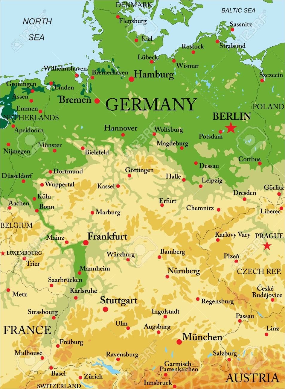Germany Relief Map Royalty Free Cliparts Vectors And Stock