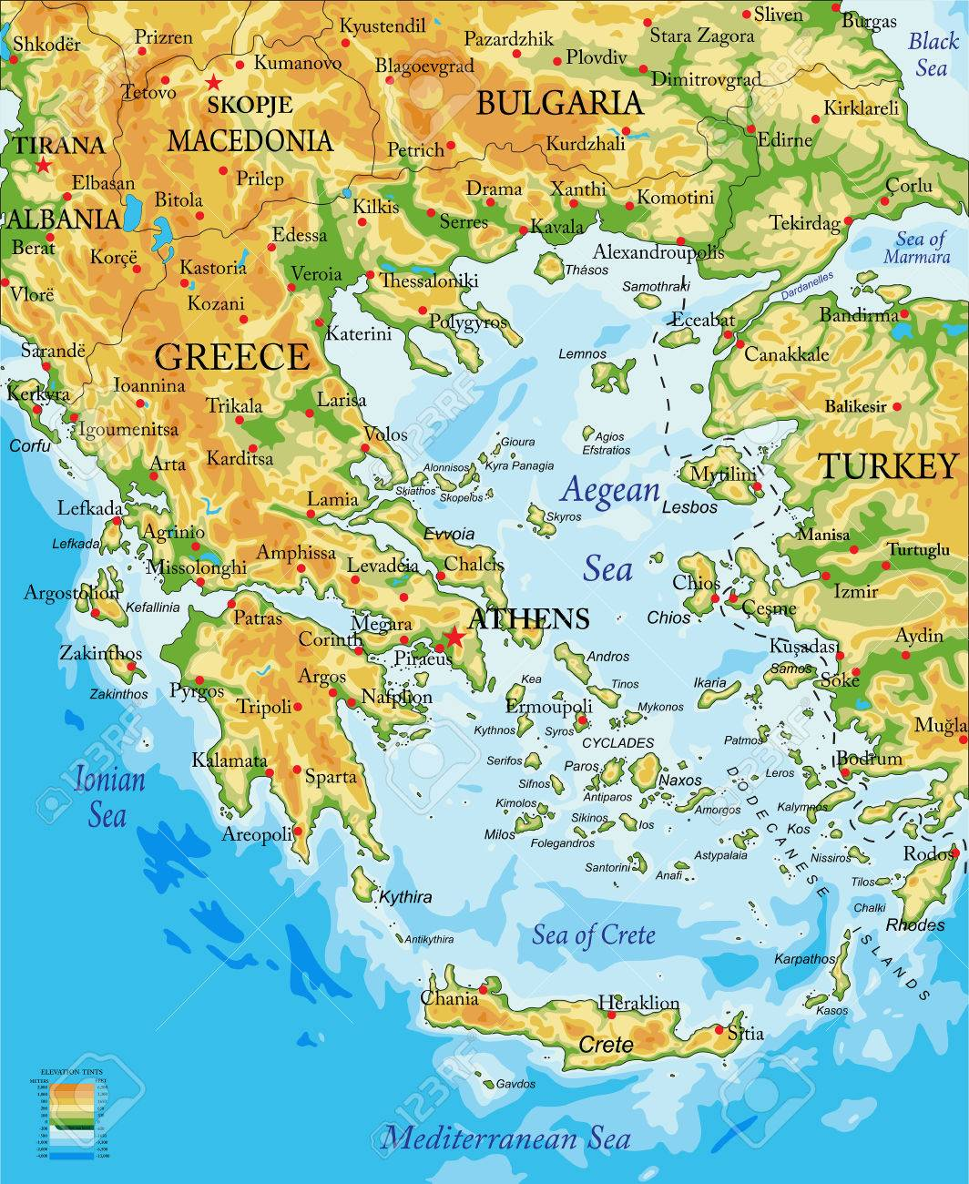 highly detailed physical map of greece in vector format with