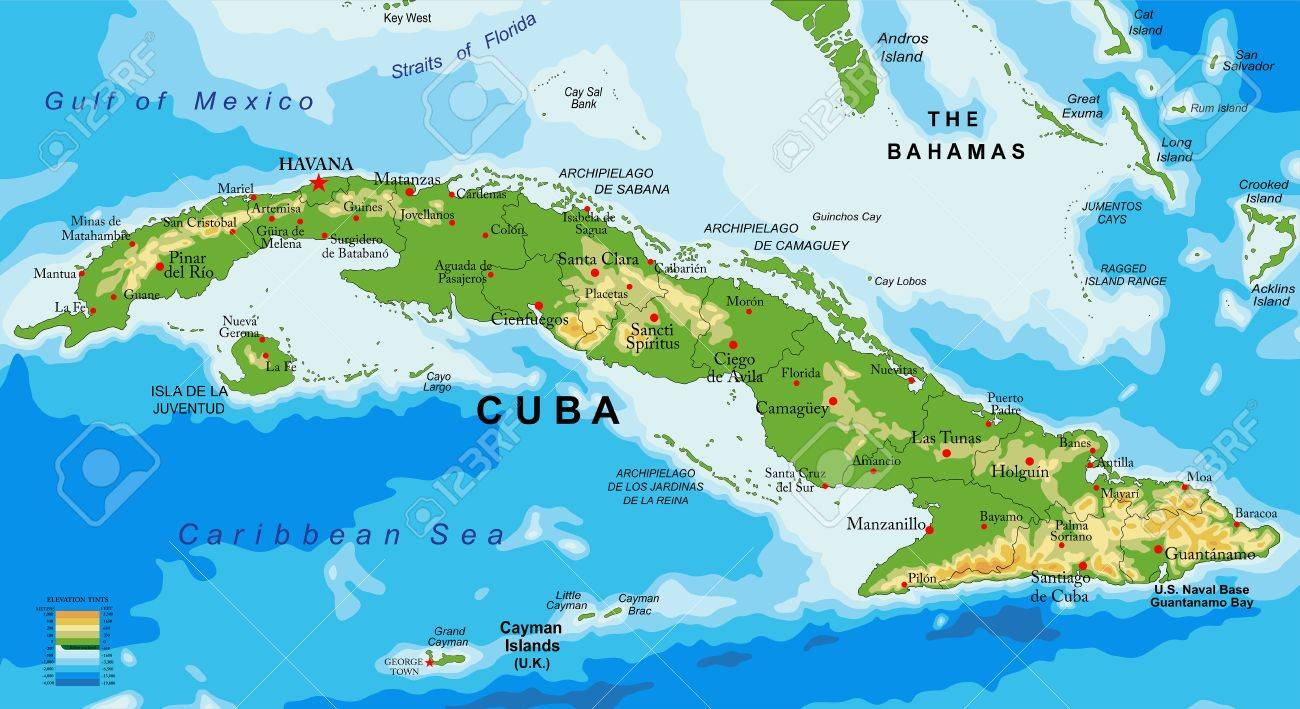 Highly Detailed Physical Map Of Cuba. Royalty Free Cliparts