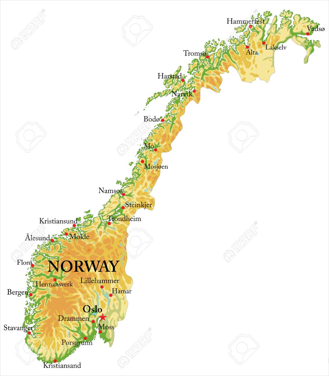 Highly Detailed Physical Map Of Norway,in Vector Format,with ...