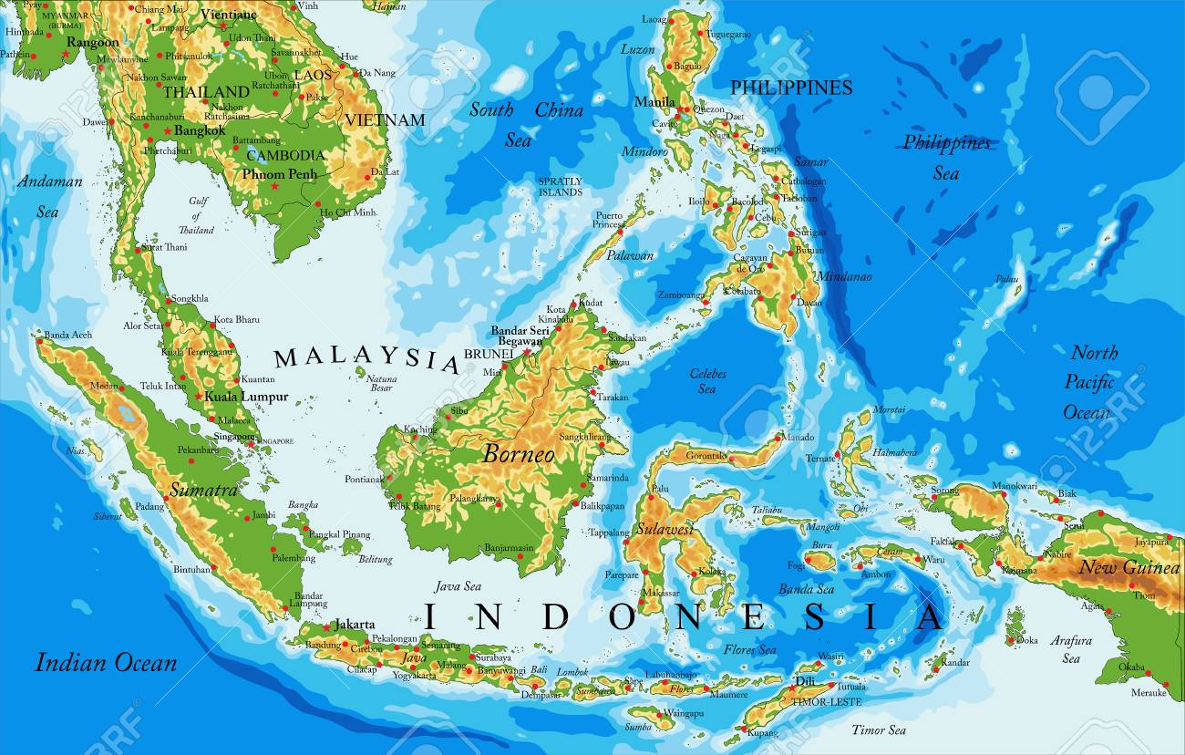 Highly Detailed Physical Map Of Indonesia In Vector