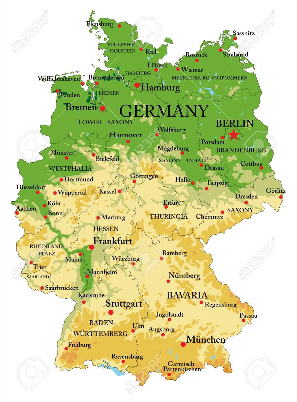 Zeer Gedetailleerde Fysieke Kaart Van Duitsland In Vectorformaat