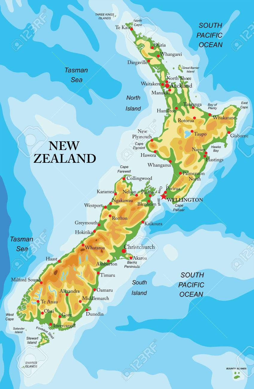 Map In New Zealand.Highly Detailed Physical Map Of New Zealand In Vector Format With