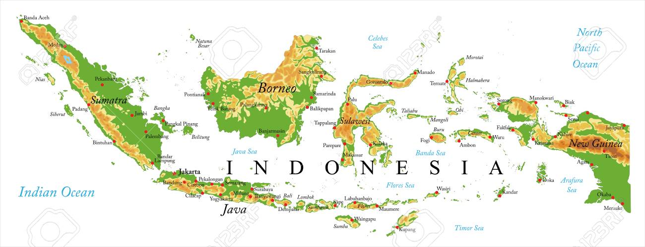 Indonesia Physical Map Royalty Free Cliparts Vectors And Stock Illustration Image 93754222