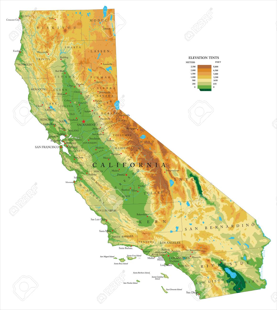 California Physical Map Royalty Free Cliparts, Vectors, And Stock ...