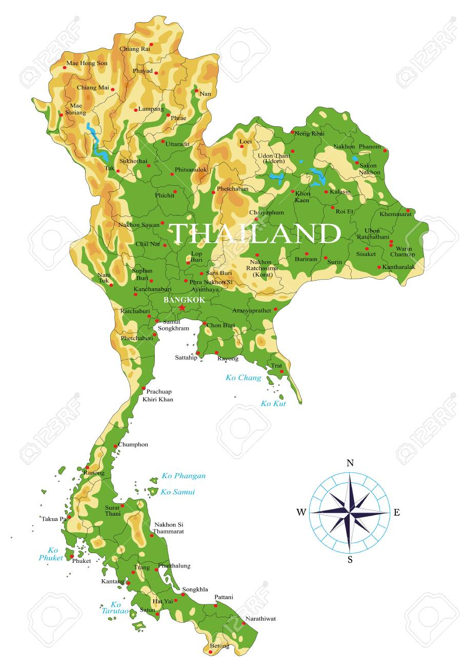 Image of: Highly Detailed Physical Map Of The Thailand In Vector Format With Royalty Free Cliparts Vectors And Stock Illustration Image 127434894