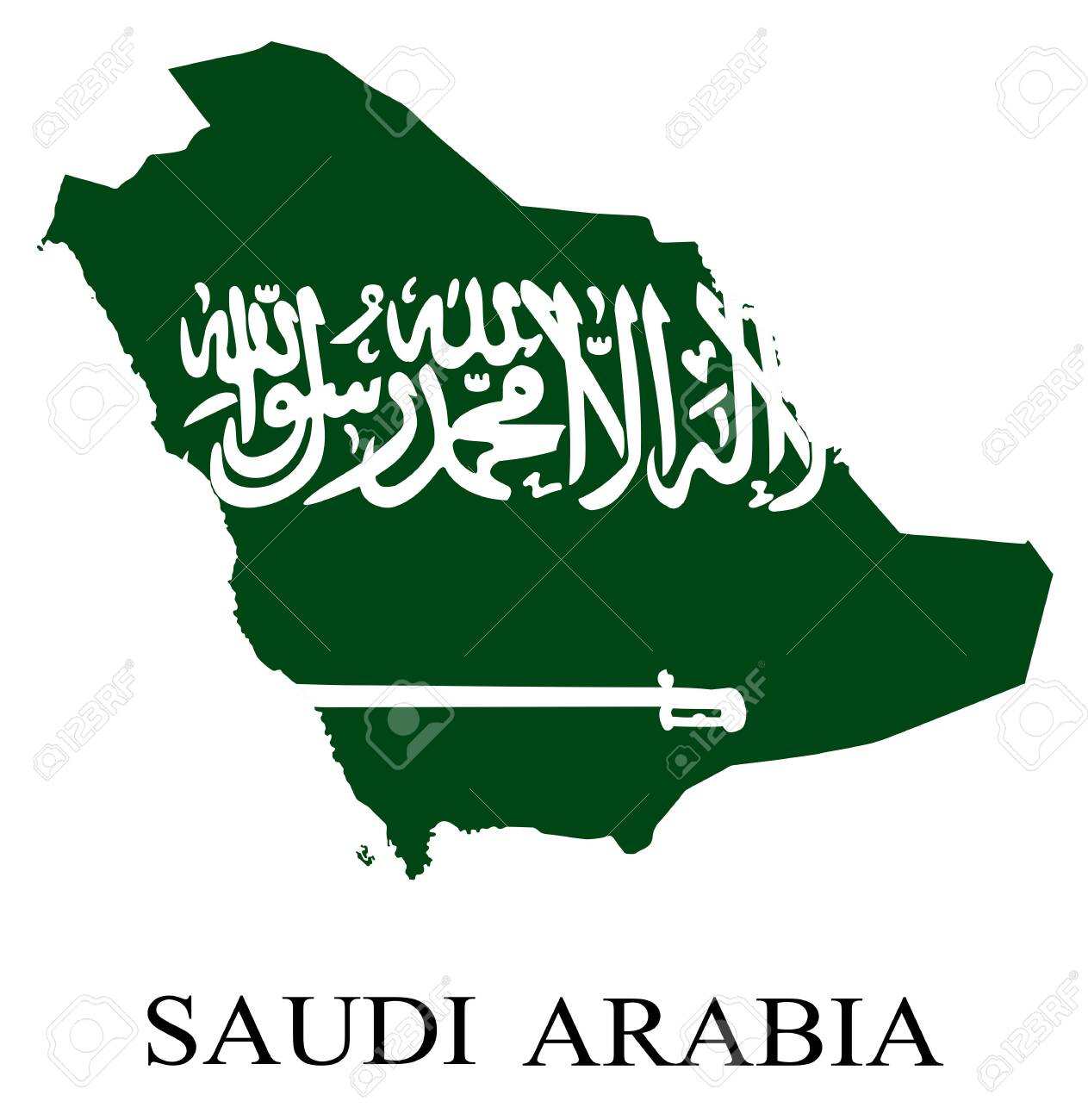 Country shape outlined and filled with the flag of Saudi Arabia,in