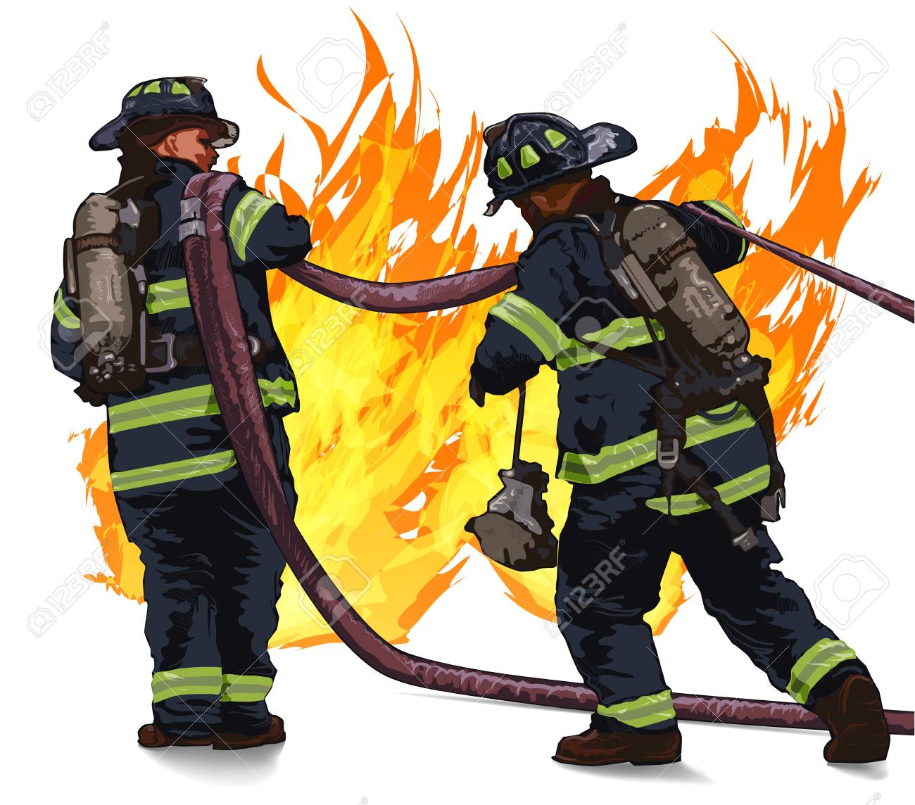 Firefighters drag the hose against the fire on a white background - 98377027