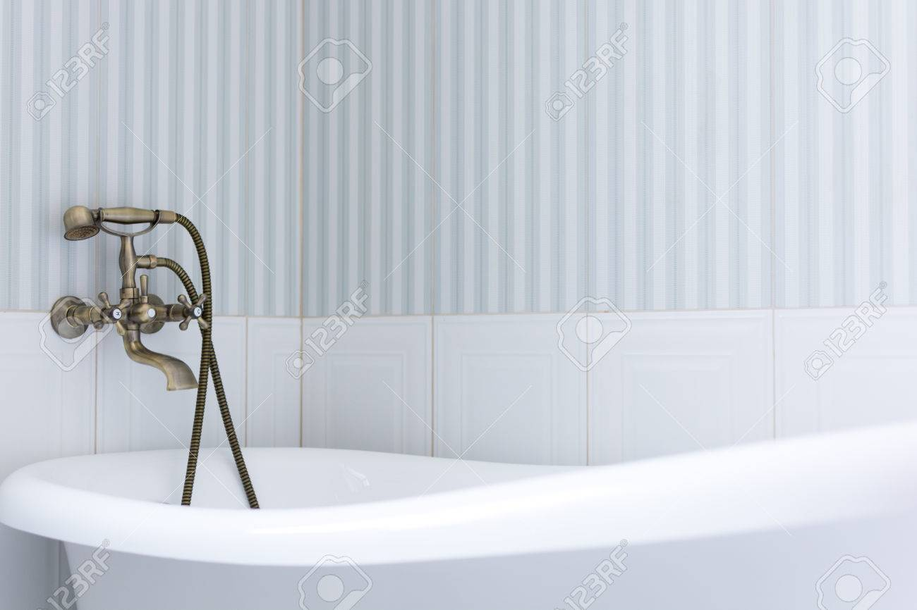Elegant Bathroom. Close Up View Of A Bath Tub Stock Photo, Picture ...