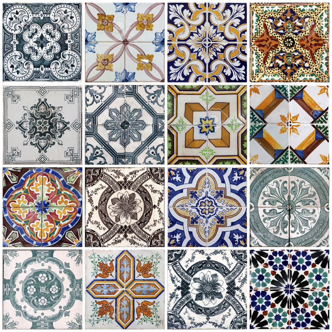 Traditional tiles from facades of old houses in Lisbon, Portugal Stock Photo - 15978925