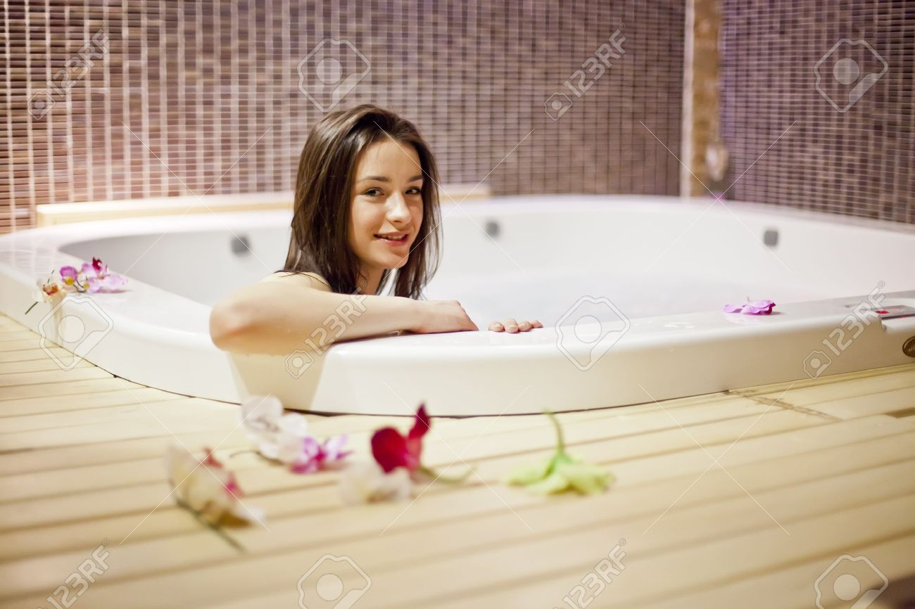 Young Woman Relaxing In The Hot Tub Stock Photo, Picture And Royalty ...