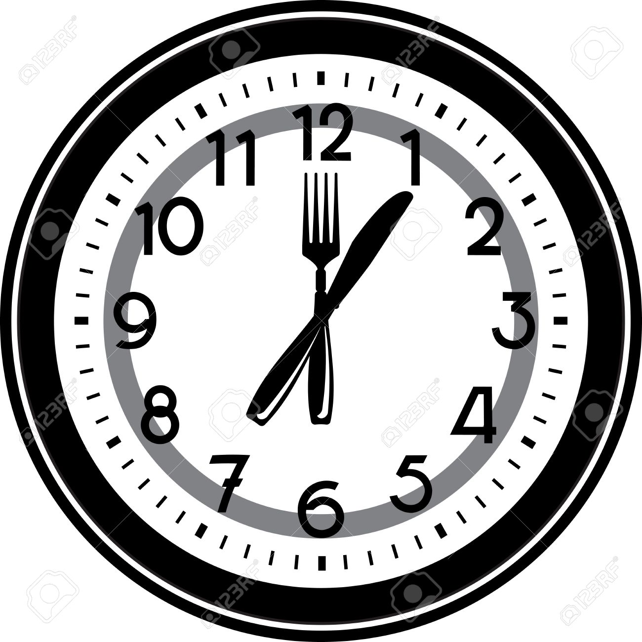 Clock Display Lunch Time At 1 O'clock Royalty Free Cliparts ...