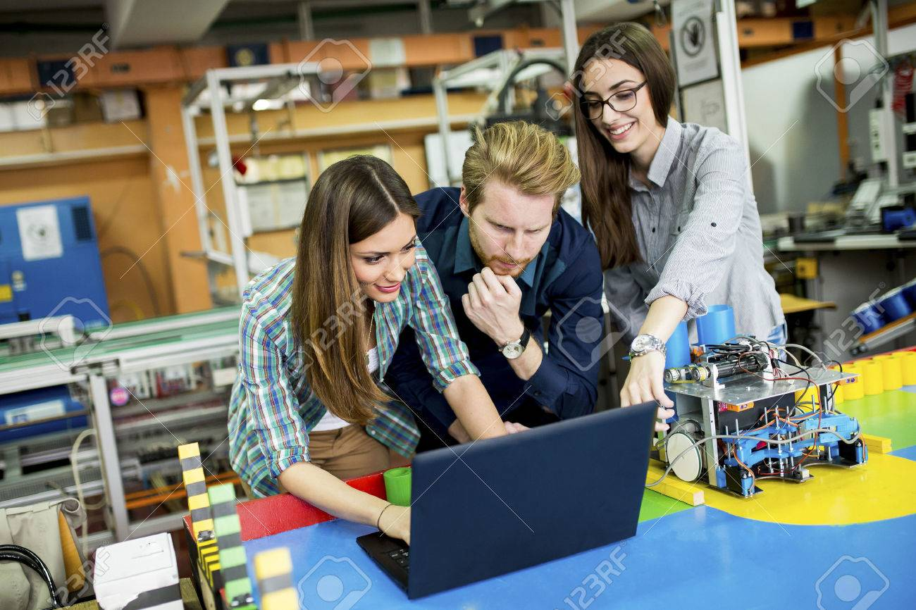 Young People In The Robotics Classroom Stock Photo Picture And