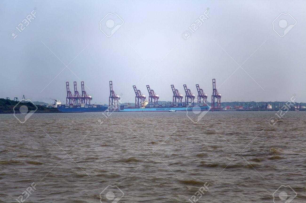 MUMBAI, INDIA - OCTOBER 11, 2015: Cargo ship at Jawaharlal Nehru