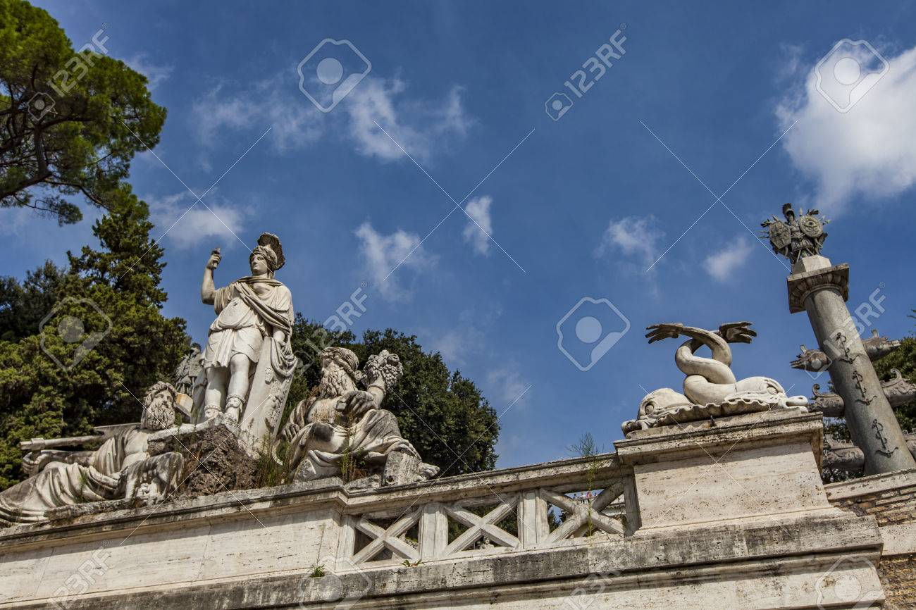 View At Terrace And The Fountain At The Piazza Del Popolo In