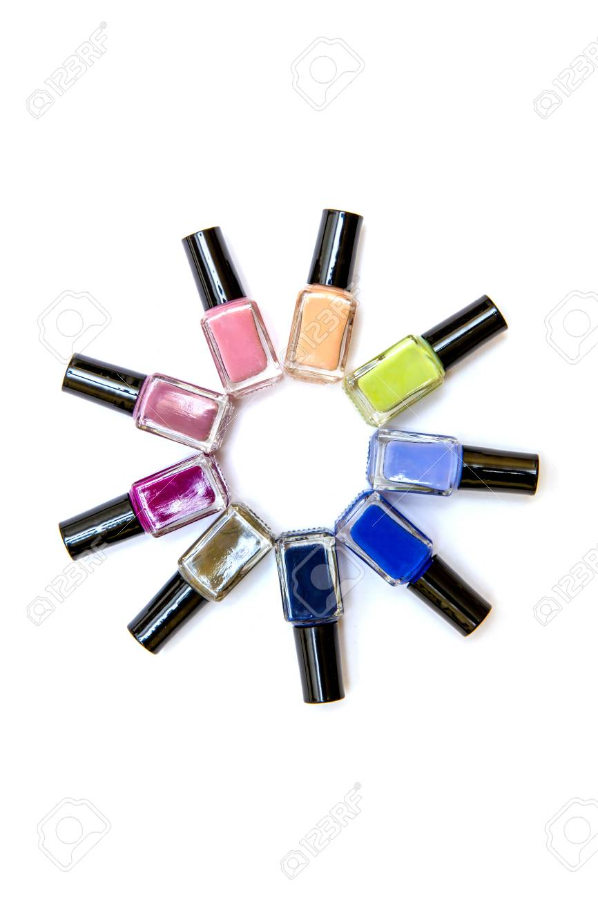 Coloured Nail Polish Bottles Stacked Circle On A White Background ...