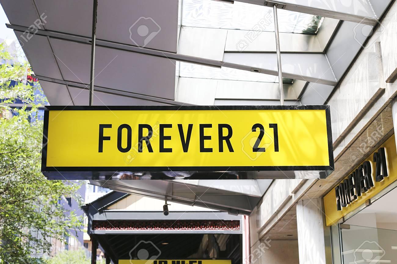 sydney australia january 23 2017 detail of forever 21 store