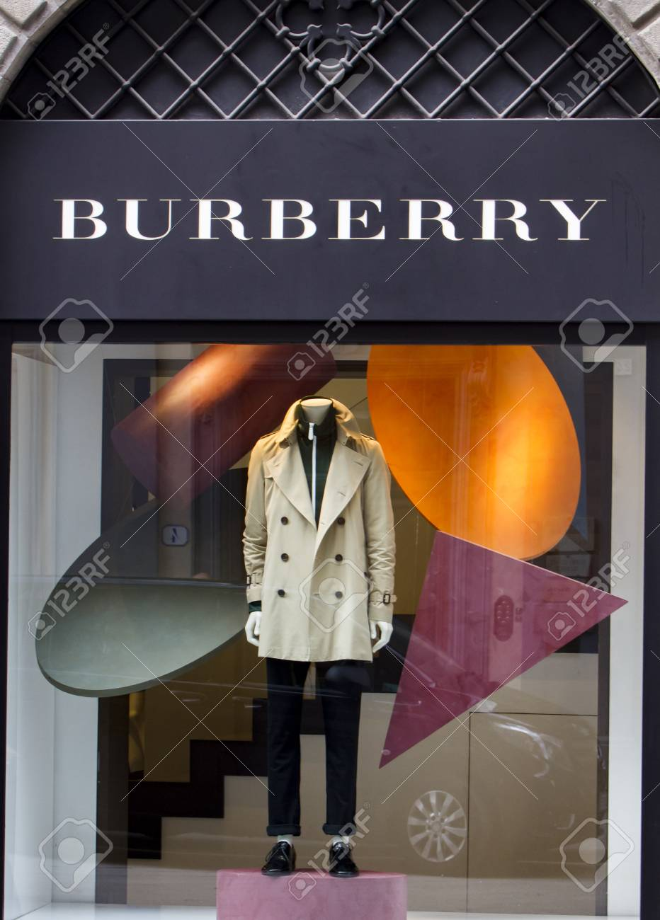 FLORENCE, ITALY - SEPTEBER 18, 2016: Detail of the Burberry store